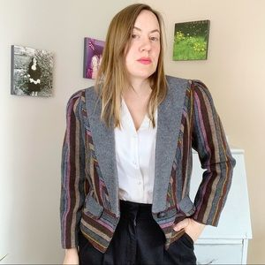 Vintage Multicoloured Striped Cropped Blazer